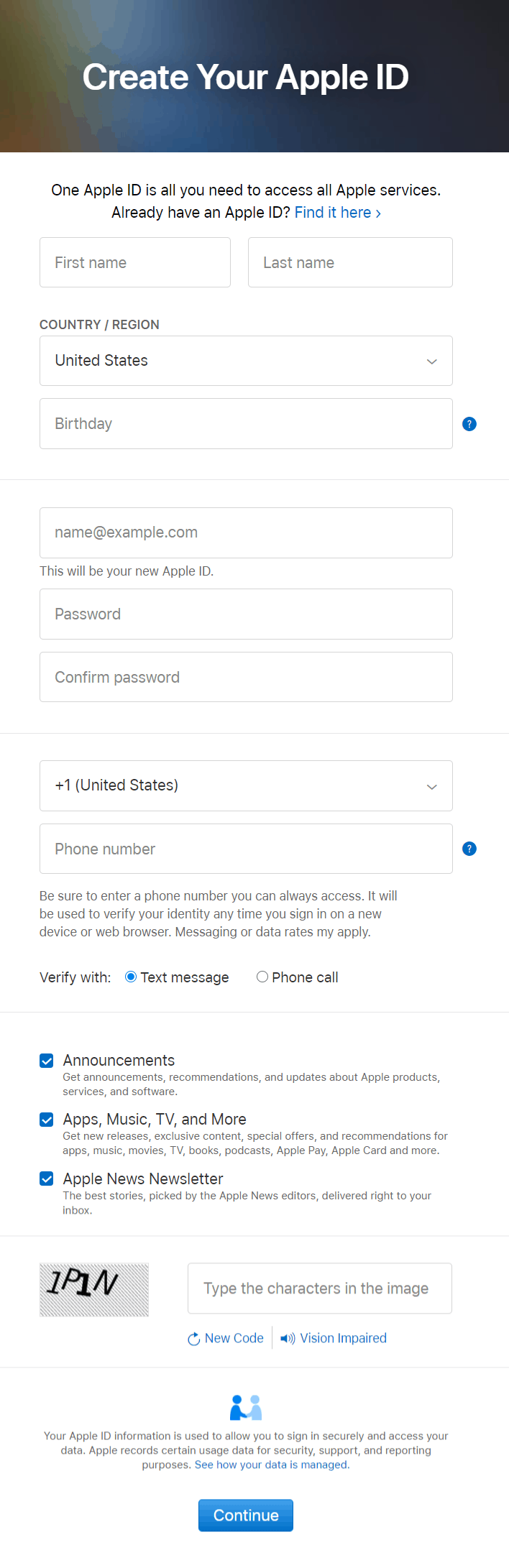 Apple ID Sign up form