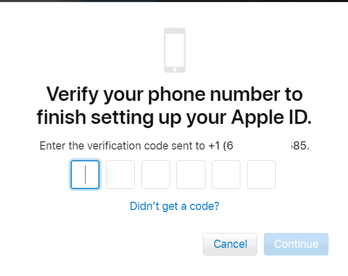 Verify phone number - Apple ID website