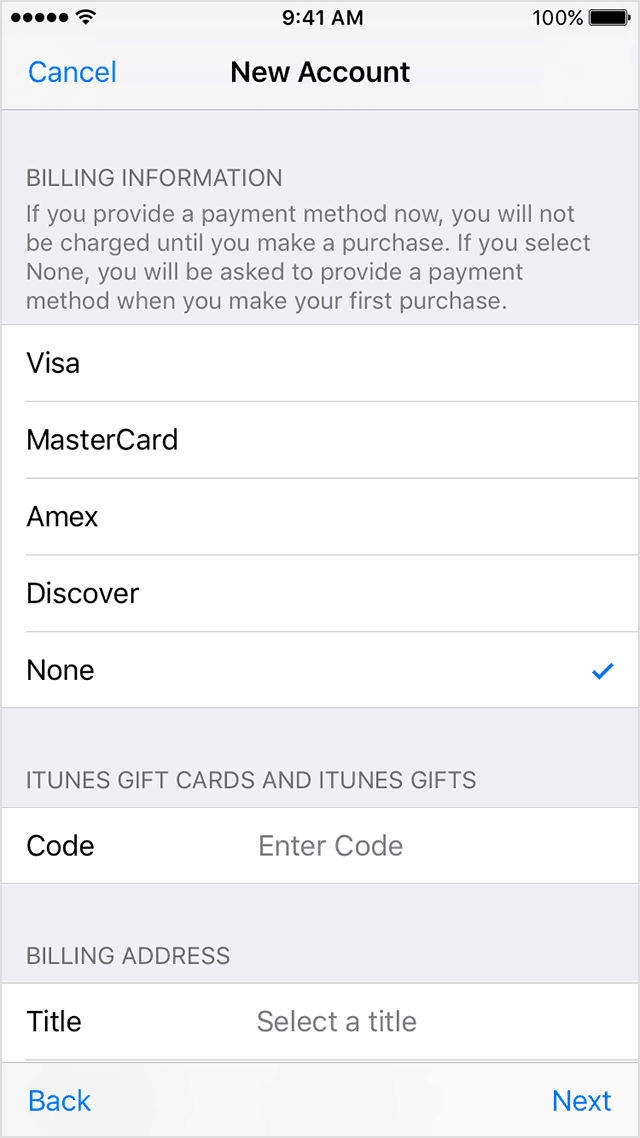 Apple ID Payment Method - None
