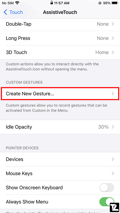 AssistiveTouch Create New Gesture