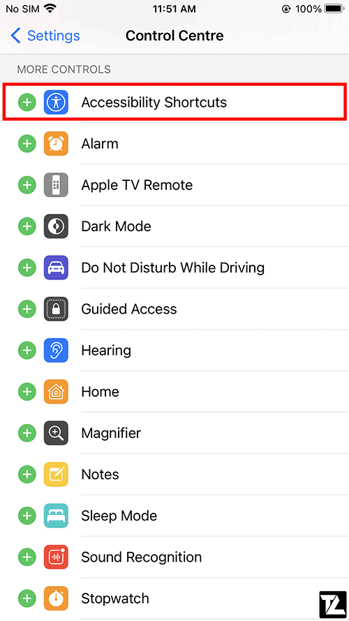 Add Accessibility Shortcut to Control Center