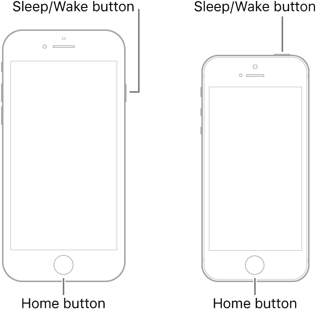 Force restart iPhone 6s, iPhone SE (1st generation), and iPad with Home button