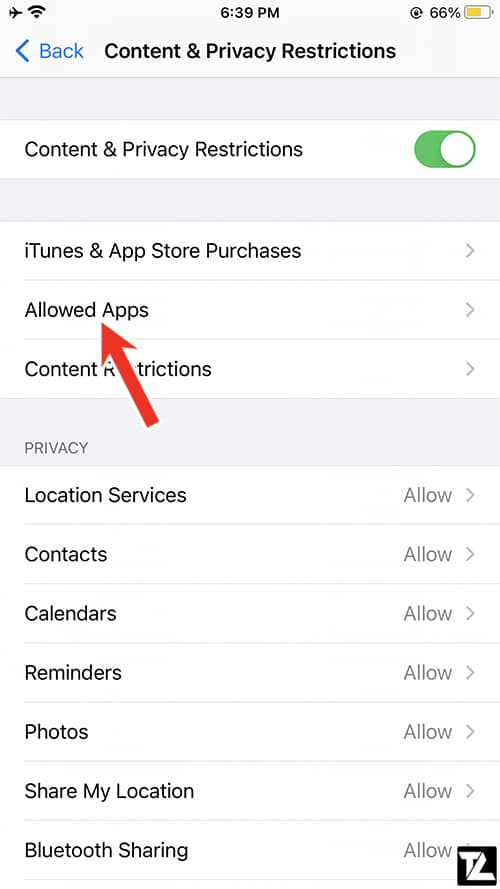 iPhone Content & Privacy Restrictions - Allowed Apps