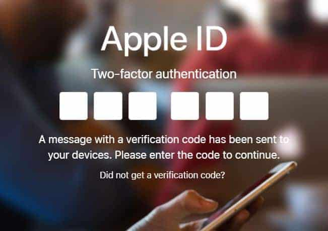 Apple ID Two Factor Authentication