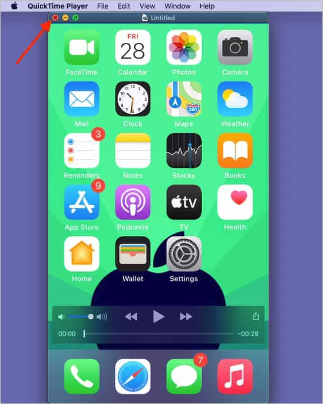 Click Red Close Button to Save Screen Recording