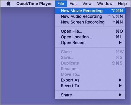 Open QuickTime Player Click File and Click New Movie Recording