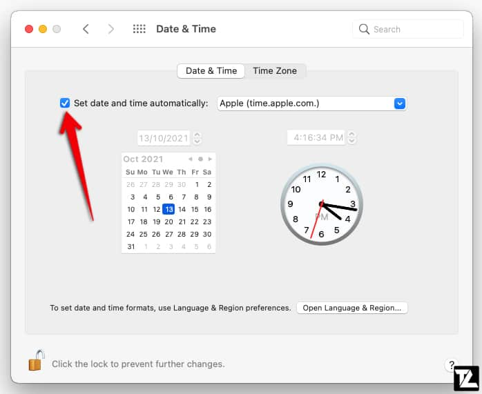 macOS Set date and time automatically